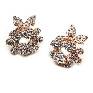 Fashion butterfly rose gold crystal earrings